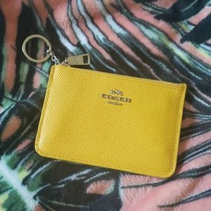 COACH Yellow Leather Keychain Credit Card Wallet